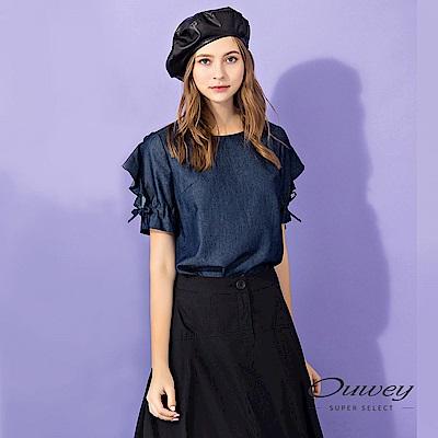 OUWEY歐薇 輕薄牛仔造型五分袖上衣(藍)