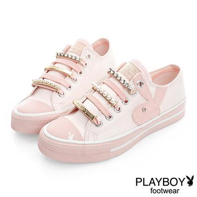 PLAYBOY-璀璨華麗-可拆華麗鞋帶釦帆布鞋-粉