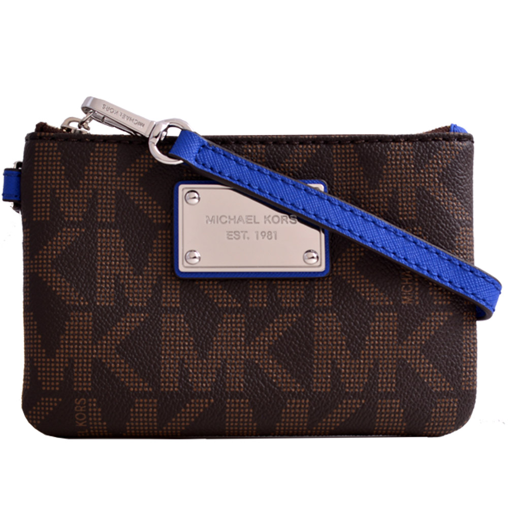 MICHAEL KORS 鐵牌MK滿版雙色防刮拉鍊手拿包-咖啡/藍