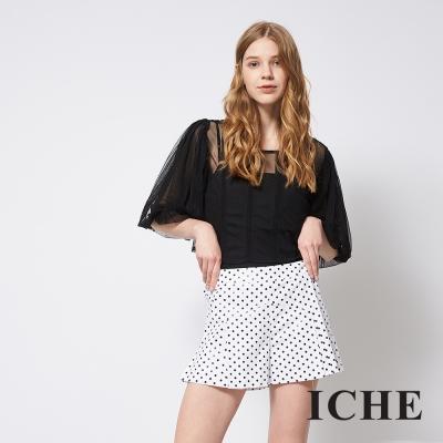 ICHE 衣哲 黑白波點印花百搭造型短褲