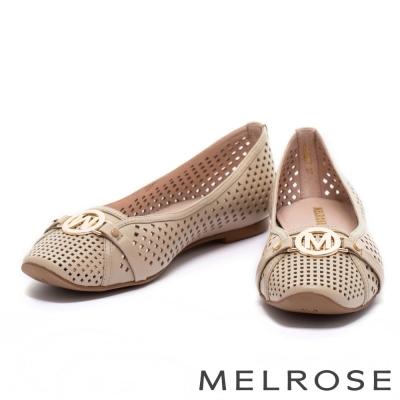 娃娃鞋 MELROSE 經典金屬圓飾沖孔全真皮娃娃鞋-米