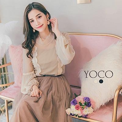 東京著衣-yoco 女神質感薄紗蕾絲拼接兩件式上衣-S.M.L(共二色)