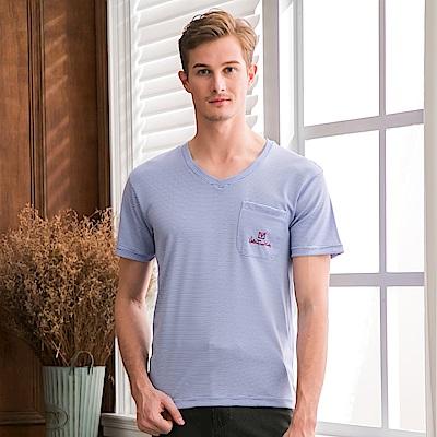 Valentino Rudy范倫鐵諾.路迪-透氣機能V領T恤衫-細藍條紋
