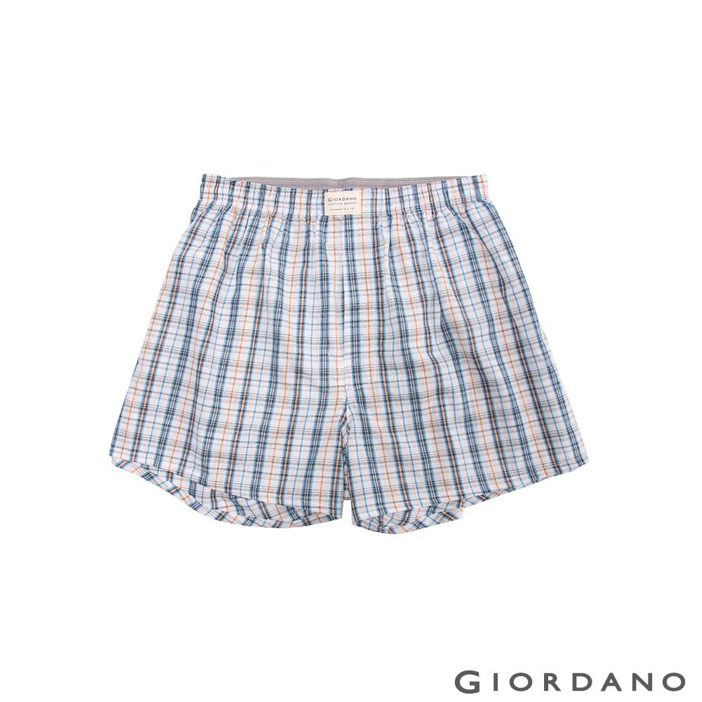 GIORDANO 男裝純棉撞色平底四角內褲-10 藍/白/橘/黑細格子色