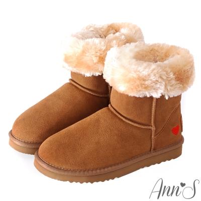 Ann'S甜美女孩-刺繡愛心2way可愛雪靴 棕