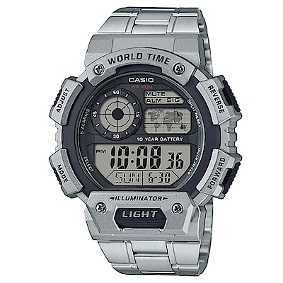 CASIO 世界之城10年電力數位電子腕錶(AE-1400WHD-1A)-48.4mm