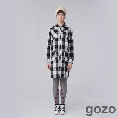 gozo 時髦方格紋拼圖口袋洋裝 (二色)