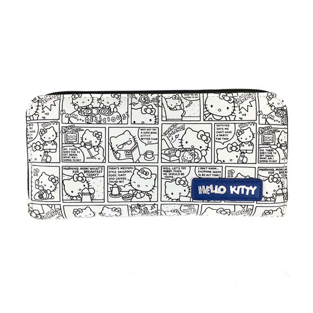 Sanrio HELLO KITTY合成皮革趣味漫畫拉鍊長皮夾(白)