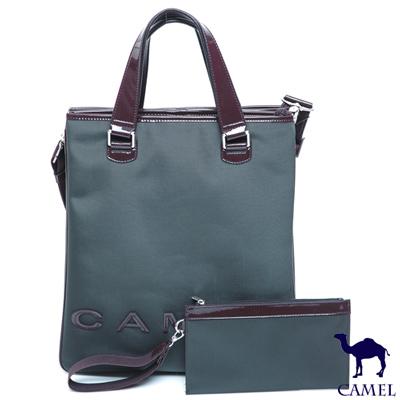 CAMEL - 英倫極簡風超質感牛皮商務手提2用側背包