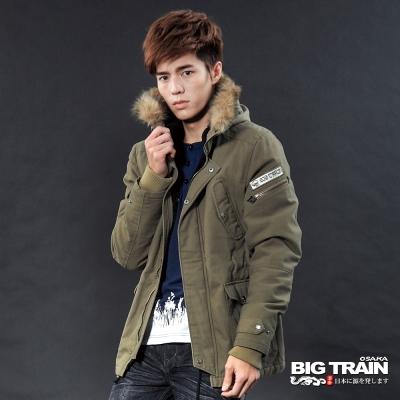 BIG TRAIN-水洗長版軍裝外套-土黃