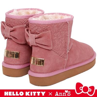HELLO KITTY X Ann'S 大蝴蝶結真皮雪靴禮盒 粉