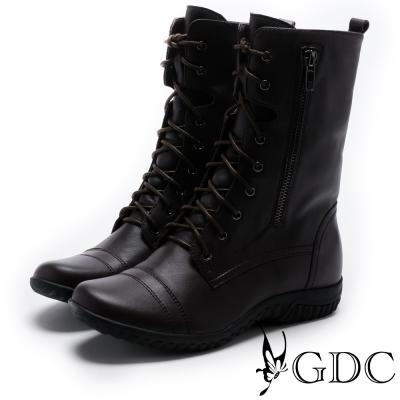 GDC-英倫帥氣真皮綁帶拉鍊中筒皮靴-咖色