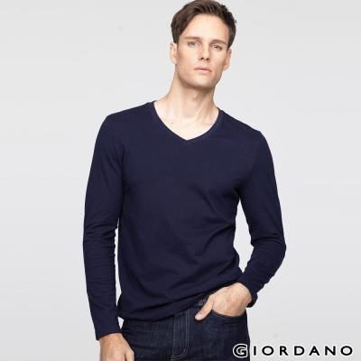 GIORDANO 男裝簡約素色輕磨毛羅紋V領長袖T恤 - 04 標誌海軍藍色