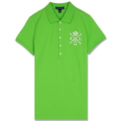 Ralph Lauren 中皇冠標棉質素面女POLO衫(草綠)