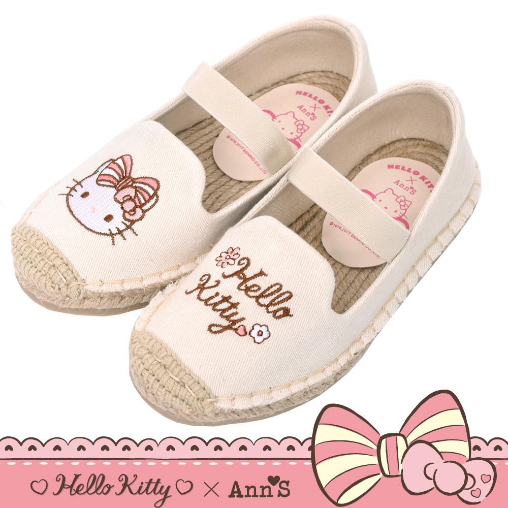 HELLO KITTY X Ann'S親子系列花園小仙子刺繡草編童鞋-米白