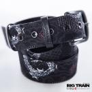 BIG TRAIN 蟠龍雲波和柄皮帶-男-黑色
