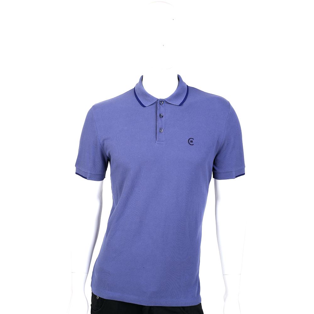 CERRUTI 1881 藍紫色滾邊設計短袖POLO衫