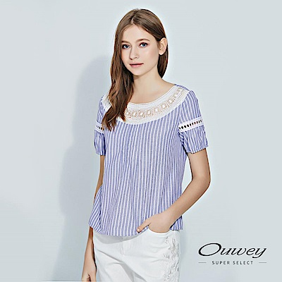 OUWEY歐薇 民俗風涼感條紋上衣(藍)