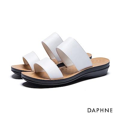 達芙妮DAPHNE 拖鞋-寬版雙帶按摩顆粒平底拖鞋-白