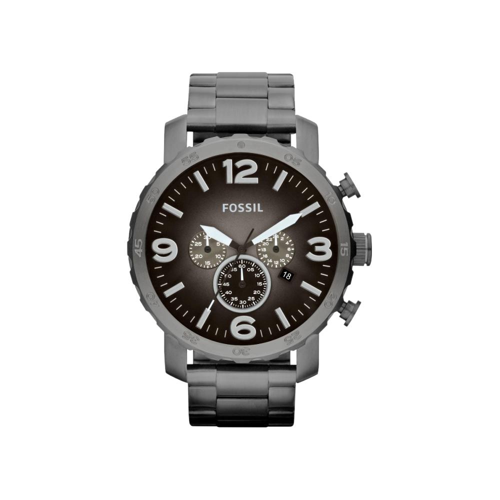 FOSSIL 大世紀戰神三眼計時腕錶-灰鐵黑/50mm