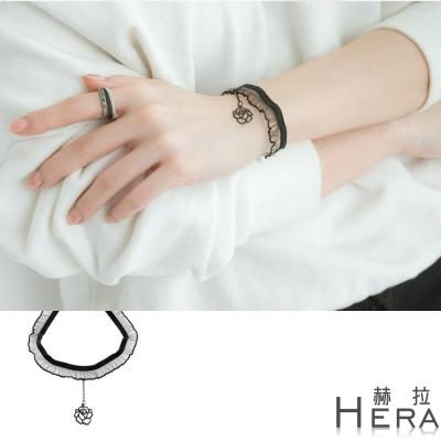 Hera 赫拉 荷葉花邊墜玫瑰短款手鍊(黑色)