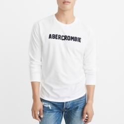 A&F 經典刺繡文字長袖T恤-白色 AF Abercrombie
