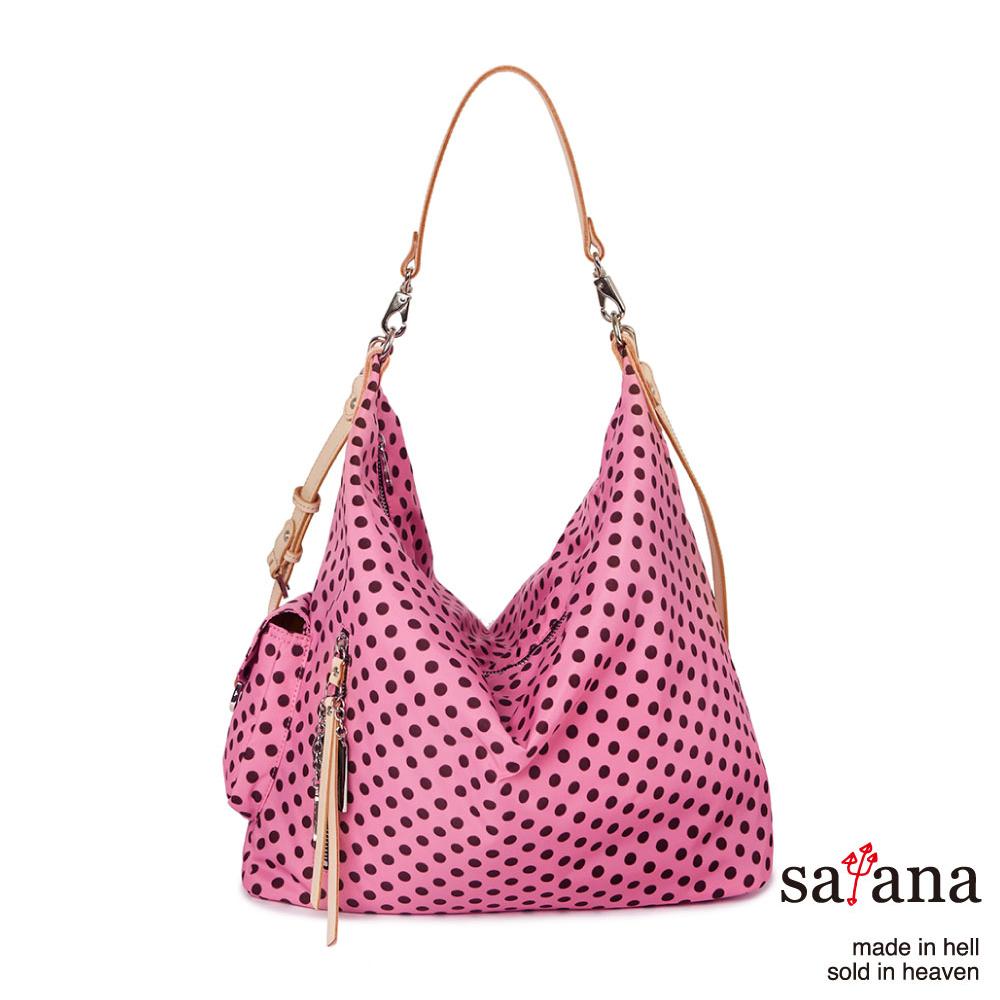 satana -929 Ladies 都會摩登 率性肩背包-凡爾賽玫瑰圓點