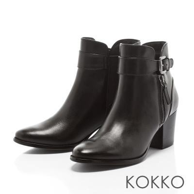 KOKKO-精品質感擦色牛皮粗跟短靴-人氣黑