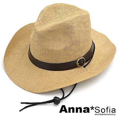 AnnaSofia 荒原皮革帶 寬簷遮陽牛仔紳士帽爵士帽草帽(駝系)