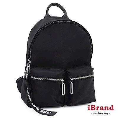 iBrand 簡約時尚尼龍雙口袋後背包-黑