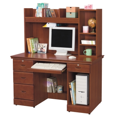 時尚屋 長榮柚木色4.2x4.8尺電腦桌 寬127cm