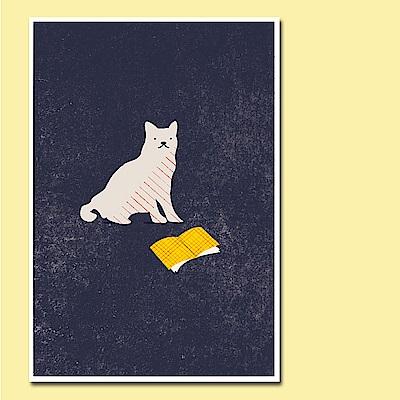 摩達客 西班牙知名插畫家Judy Kaufmann藝術創作海報掛畫-閱讀貓