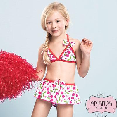 AMANDA 女童泳裝 比基尼裙-紅桃粉-5802附帽