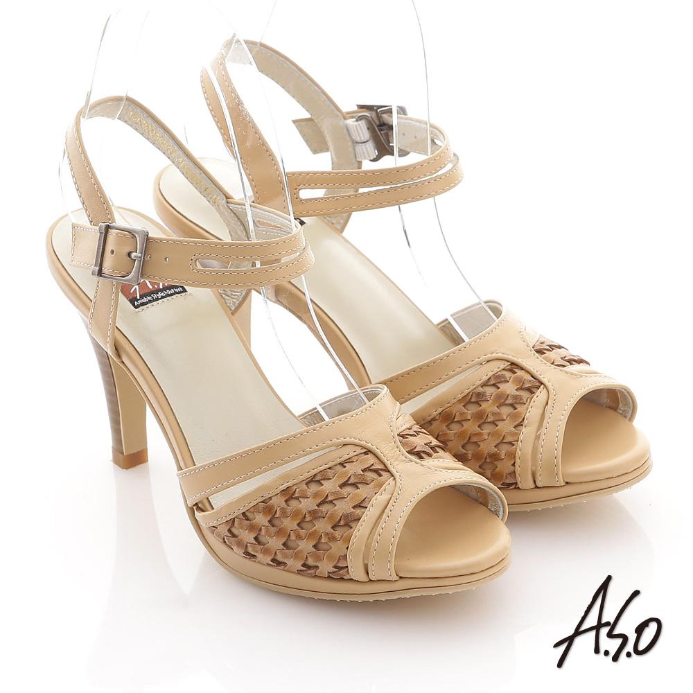 A.S.O 異域拼盤 渡假感編織高跟涼鞋 卡其