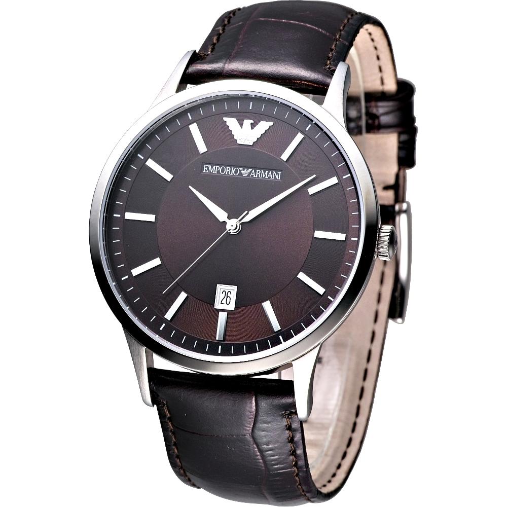 ARMANI 經典大錶徑紳士腕錶-深咖啡/43mm