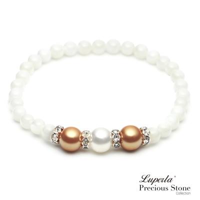 大東山珠寶 氣質金珠貝晶鑽手鍊