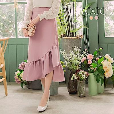 東京著衣 甜美女伶純色排釦不規則魚尾裙-S.M.L(共二色)