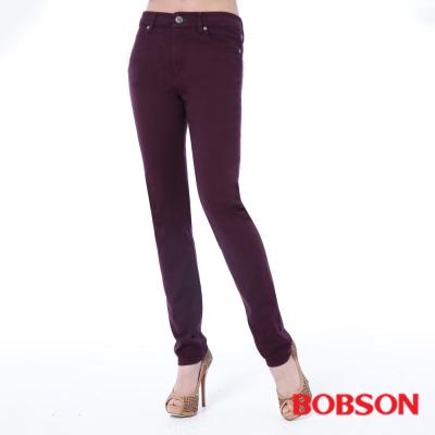 BOBSON 女款高腰膠原蛋白拉毛小直筒褲 -紫色