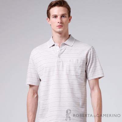 ROBERTA諾貝達 台灣製 經典條紋 純棉短袖POLO衫 灰色