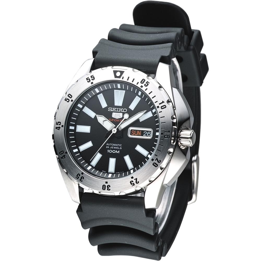 SEIKO 運動風尚5號24石自動機械錶(SRP357K2)-黑x橡膠錶帶/42mm
