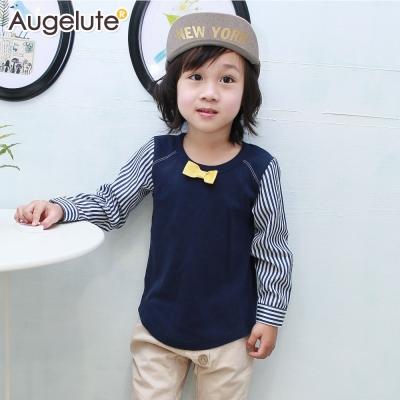 baby童衣 上衣 假兩件小領結條紋拼接袖47132