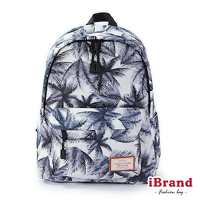 iBrand 學院風印花潮流防潑水口袋後背包-棕櫚樹