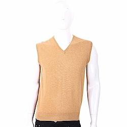Andre Maurice 100%喀什米爾棕色針織羊毛背心