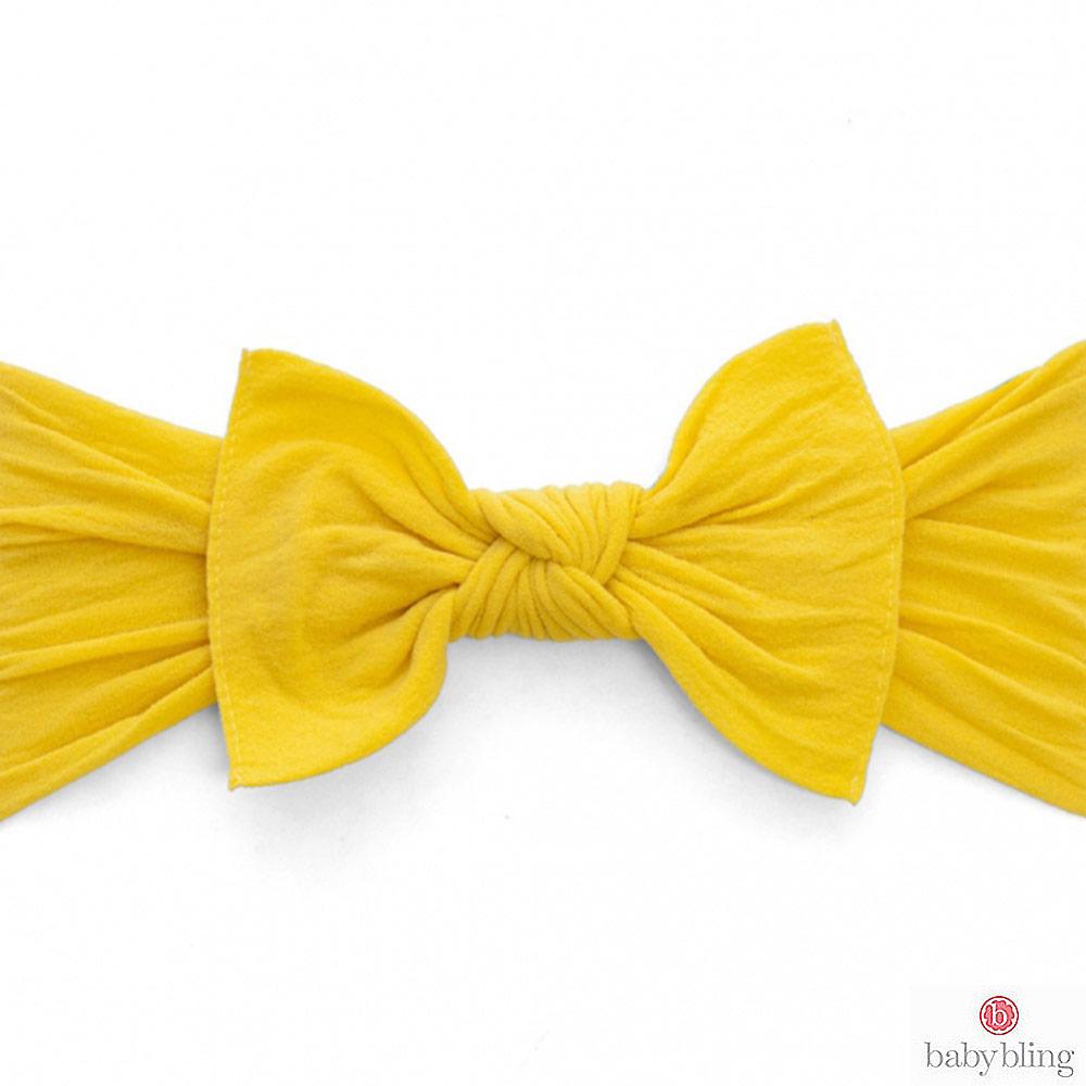Baby Bling 大蝴蝶結寬版寶寶髮帶髮飾 - 芥末黃
