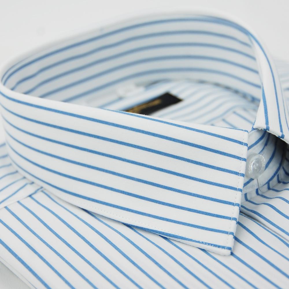 【金安德森】白底藍條紋短袖襯衫