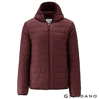 GIORDANO 男裝素色修身連帽鋪棉外套 - 20 仙粉黛紅