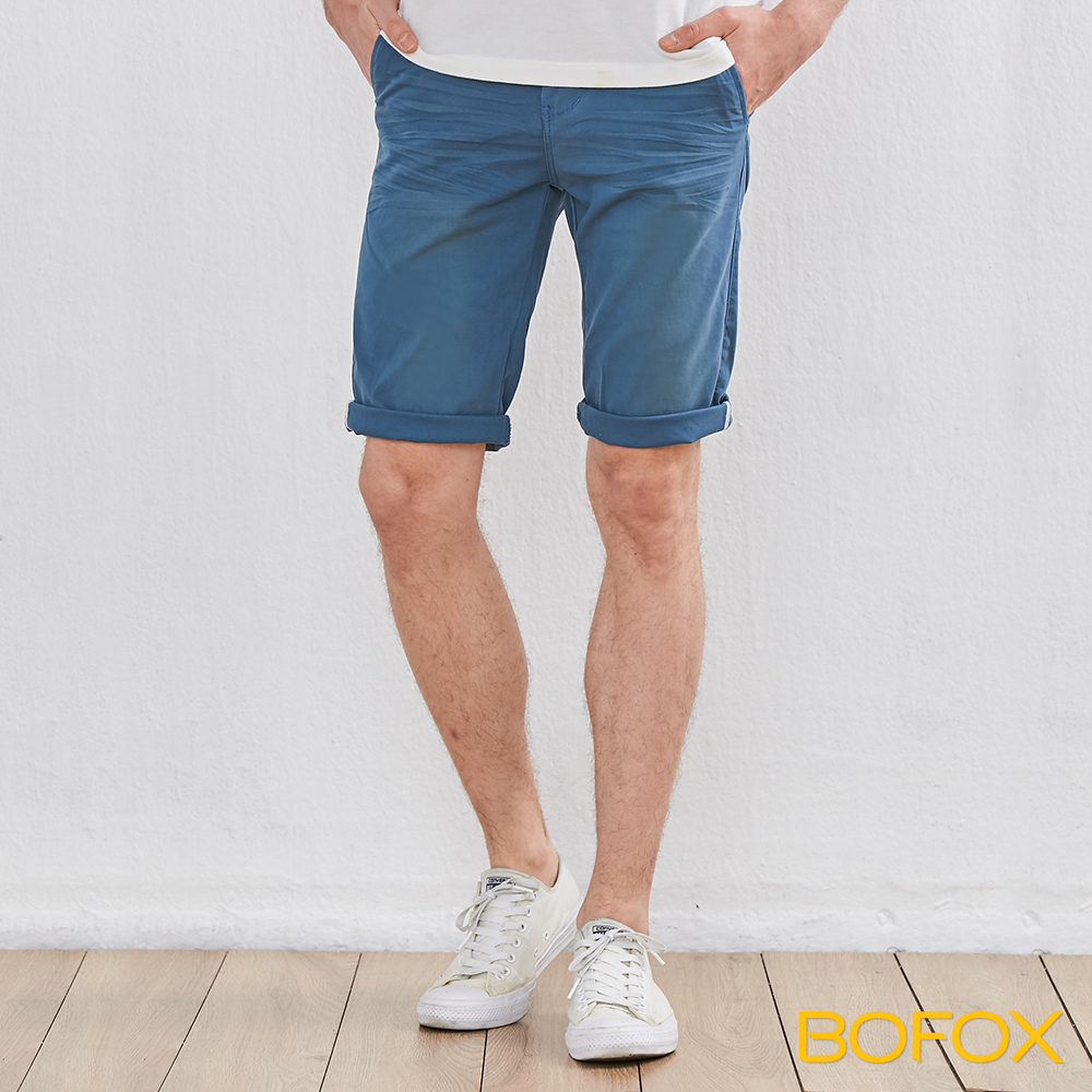 BOFOX 抓皺刷色休閒短褲-淺藍