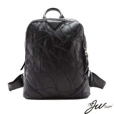 JW-真皮聖彼得配PU縫格手肩後背包-共一色