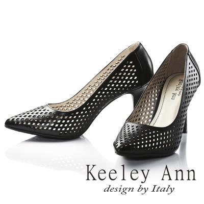 Keeley Ann 菱紋洞洞鏤空OL真皮尖頭高跟鞋 黑色