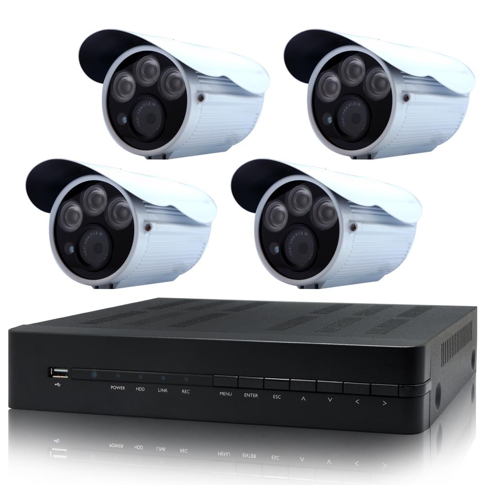奇巧 4路AHD 720P數位高清遠端監控套組(三陣列燈130萬攝影機x4)